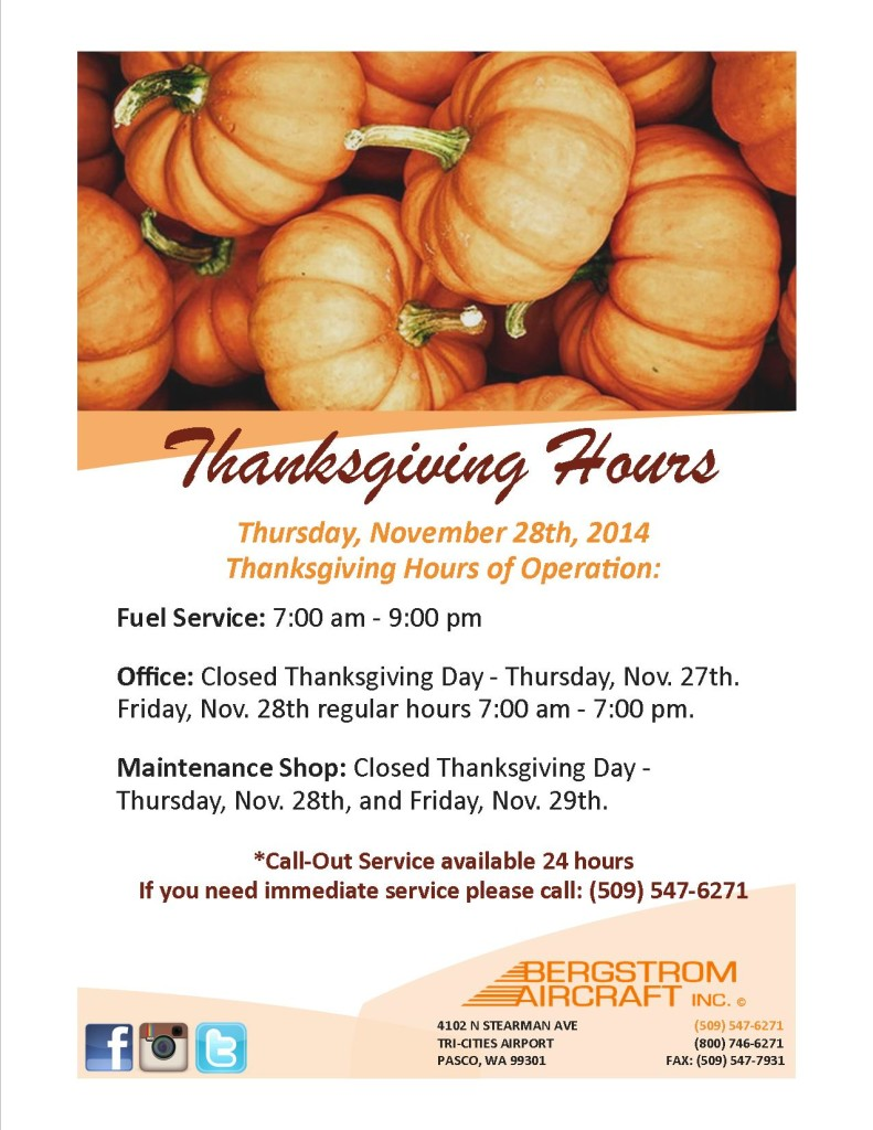 THANKSGIVING HOURS 2014